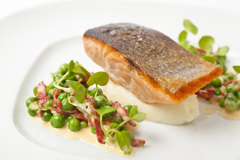 Organic salmon with English peas and chorizo